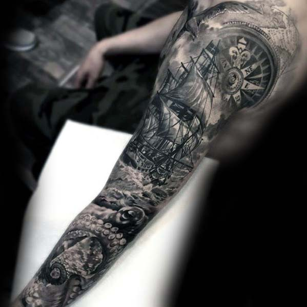 40 Nautical Sleeve Tattoos For Men – Seafaring Ink Deisgn Ideas