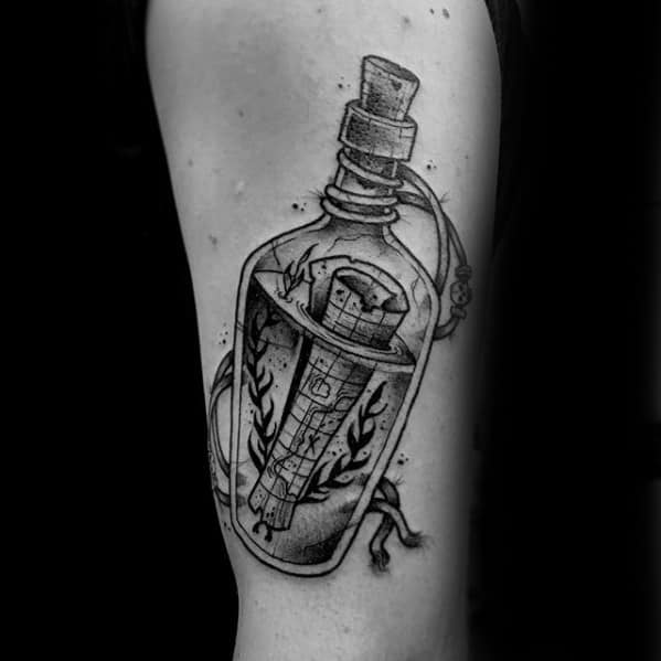 Incredible Message In A Bottle Tattoos For Men On Arm