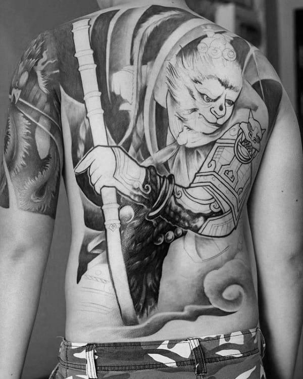 Incredible Monkey King Male Full Back Tattoo Ideas