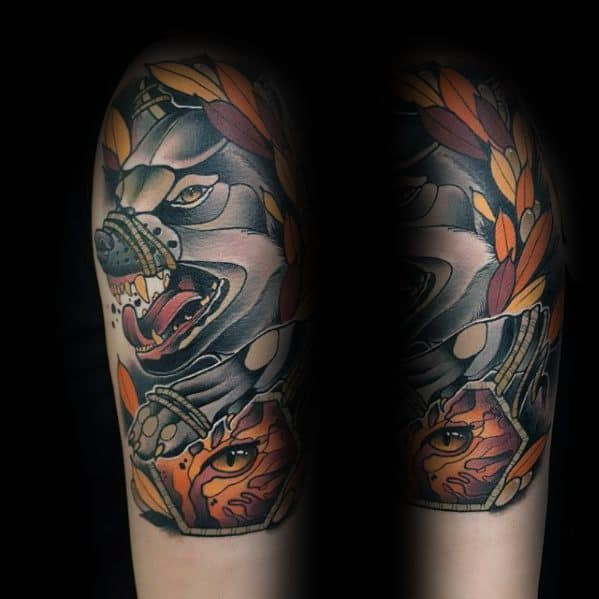Incredible Neo Traditional Wolf Tattoos For Men