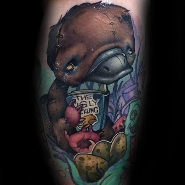 Incredible New School Egl Platypus Tattoos For Men
