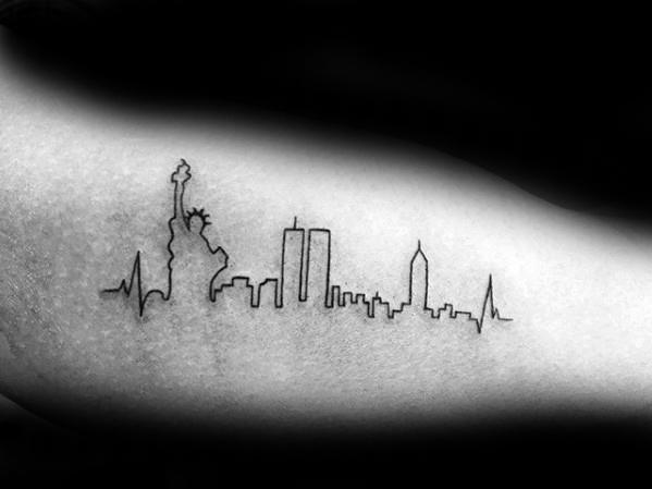 Incredible New York City Skyline Outline Tattoos For Men On Inner Arm Bicep