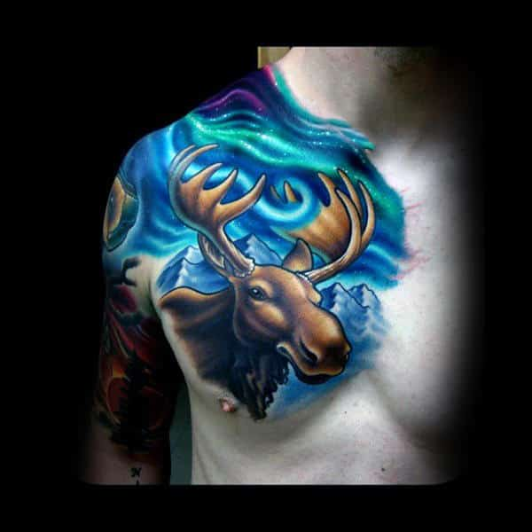 Incredible Northern Lights Colorful Moose Sky Tattoos For Men On Chest