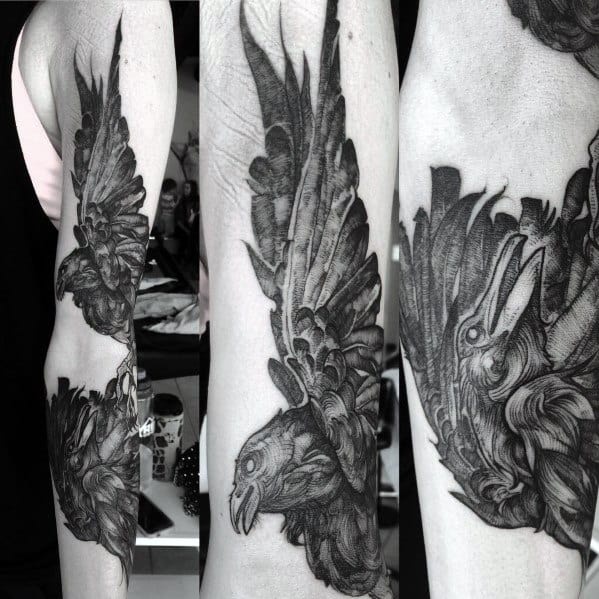 Incredible Odins Ravens Tattoos For Men