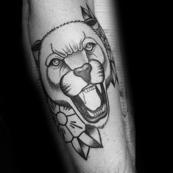 Incredible Old School Traditional Mountain Lion Head Leg Tattoos For Men