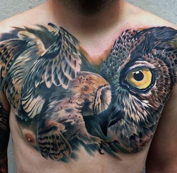Incredible Owl Modern Guys Upper Chest Tattoo Ideas