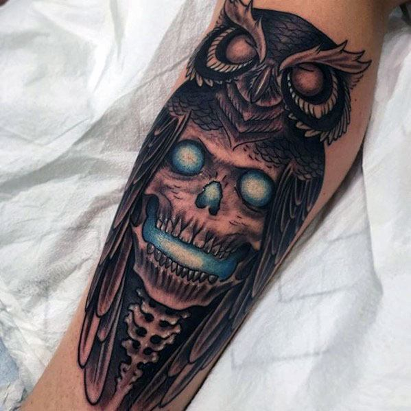 Incredible Owl Skull Tattoos For Men