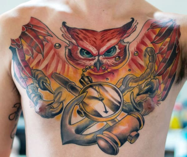 Incredible Owl With Anchor Male Chest Tattoo