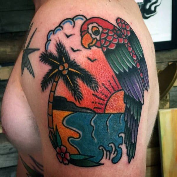 Incredible Parrot With Ocean Beach Tattoos For Men Upper Arm