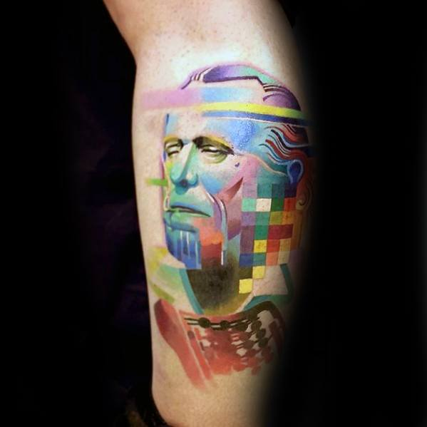 Incredible Portrait Pixel Tattoos For Men On Side Of Leg