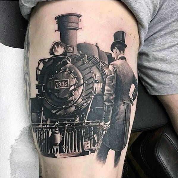 Incredible Railroad Greatest Tattoos For Men On Thigh