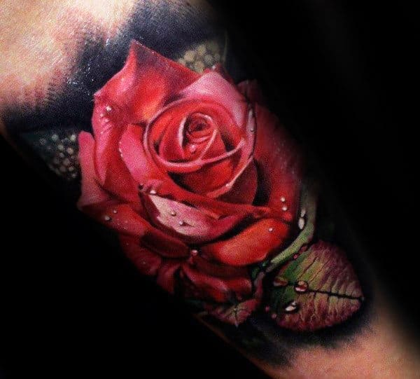 Incredible Realistic Red Rose Flower Male Arm Tattoos