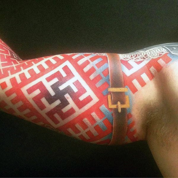Incredible Red Ink Arm Sleeve Tattoo For Guys