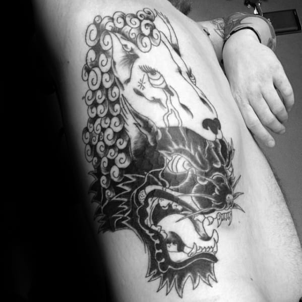 Incredible Rib Cage Side Wolf In Sheeps Clothing Tattoos For Men