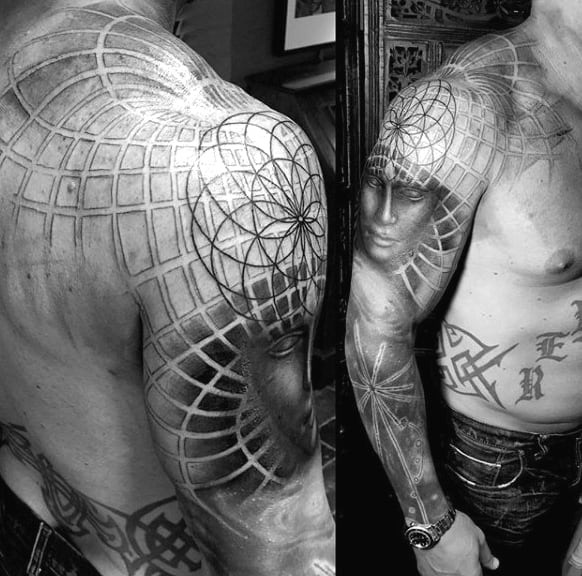 Incredible Sacred Geometry Mens Sciencen Tattoo Sleeves