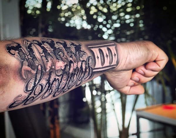 Incredible Script Outer Forearm Tattoos For Men