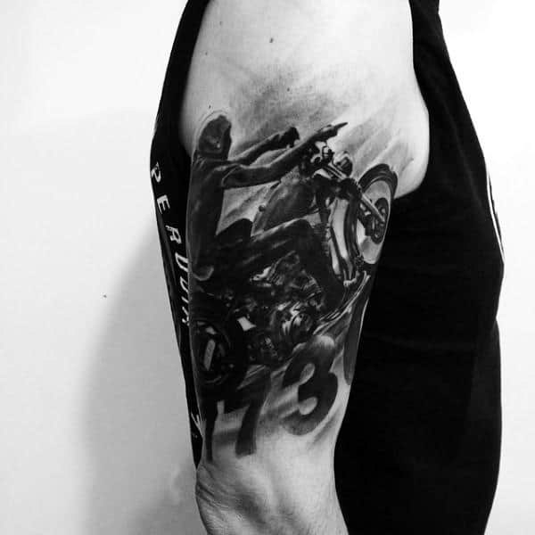 Incredible Shaded Black Ink Harley Davidsonmens Half Sleeve Tattoo