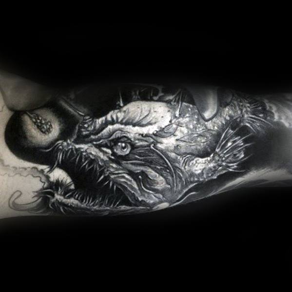 Incredible Shaded Inner Arm Sleeve Angler Fish Tattoos For Men