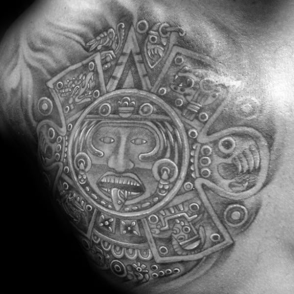 Incredible Shaded Upper Chest Mayan Calender Tattoos For Men