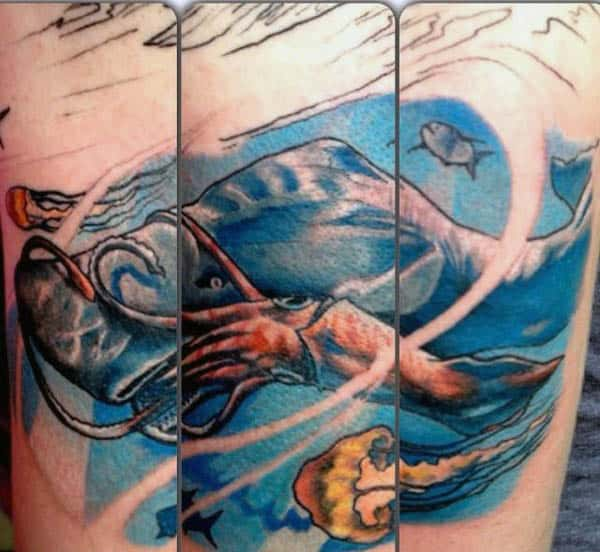 Incredible Shark Eating Squid Underwater Mens Tattoo On Arm