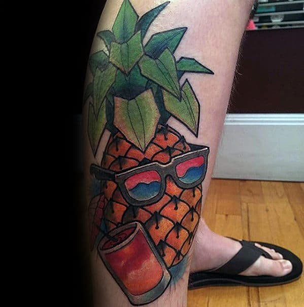 Incredible Side Of Leg Tropical Pineapple Tattoos For Men