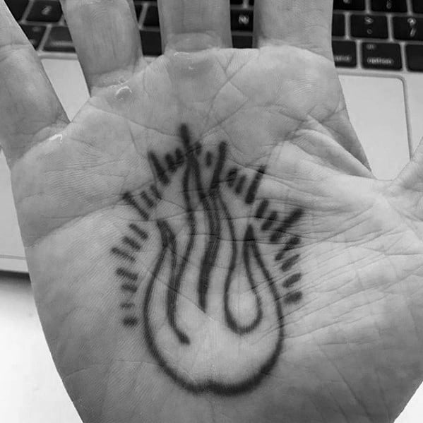 Incredible Simple Hand Fire In Palm Tattoos For Men