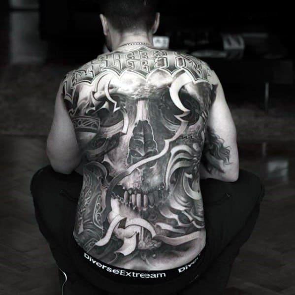 Incredible Skull Back Tattoos For Men