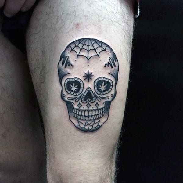 Incredible Skull Sugar Tattoo For Guys On Thigh