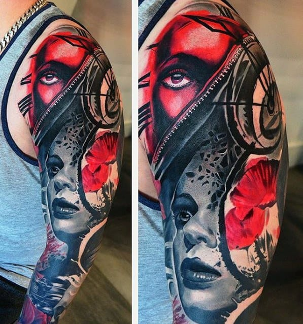 Incredible Sleeve Surrealism Tattoos For Men