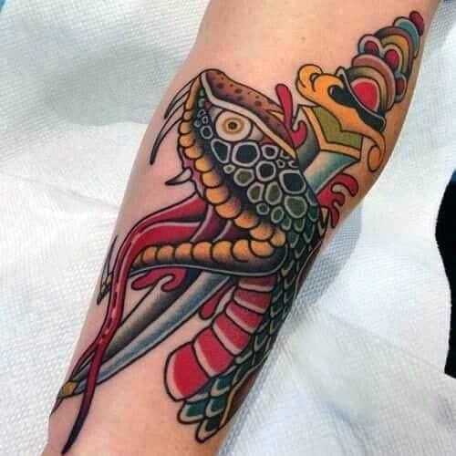 Incredible Snake Dagger Tattoos For Men