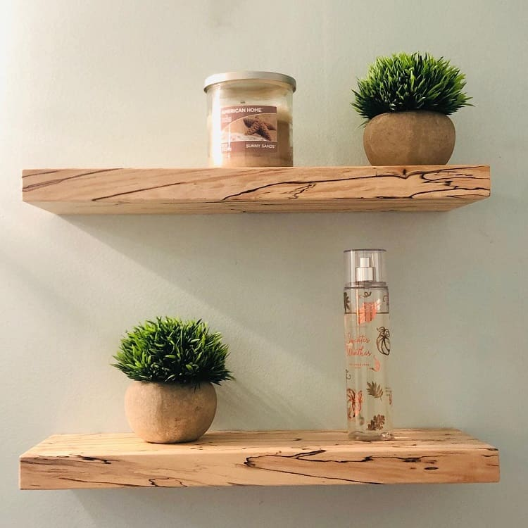 Incredible Spalted Maple Bathroom Floating Shelf The Artisans Burrow
