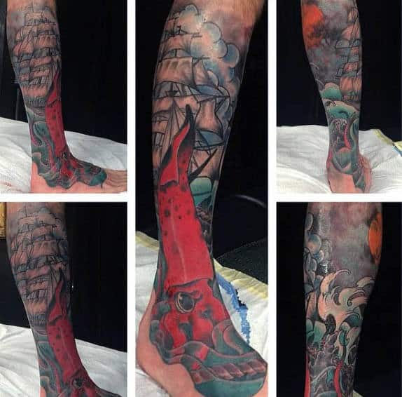 Incredible Squid And Ship Tattoo On Leg And Foot For Men