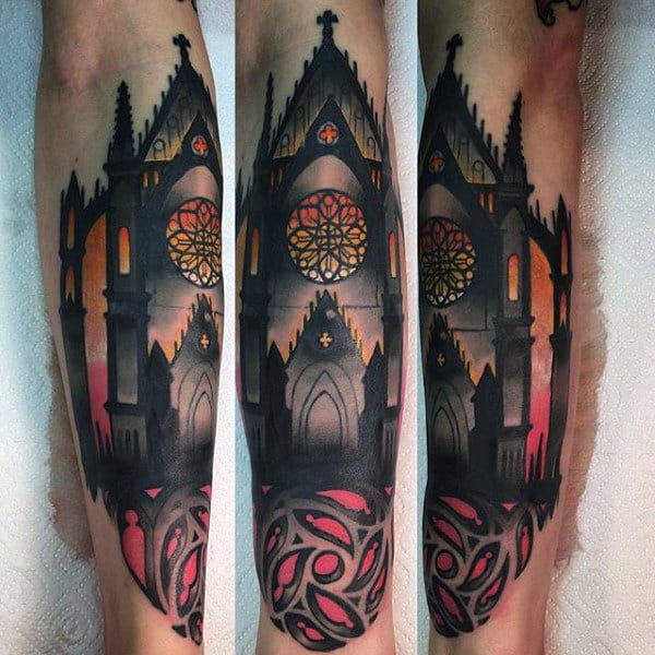 Incredible Stained Glass Mens Tattoo Of Church On Forearm