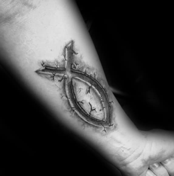 Incredible Stone 3d Inner Forearm Ichthus Tattoos For Men