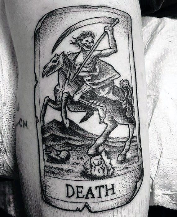 Incredible Tarot Death Card Arm Tattoos For Men