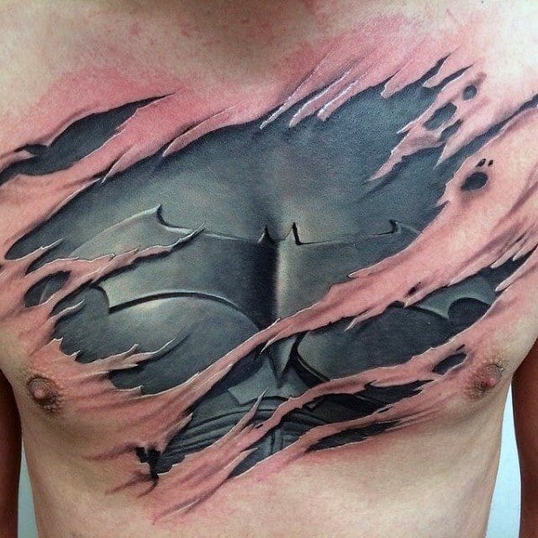 Incredible Tattoo Designs For Men Batman Ripped Skin On Chest