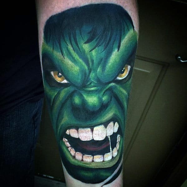 Incredible Teethy Hulk Tattoo Male Forearms