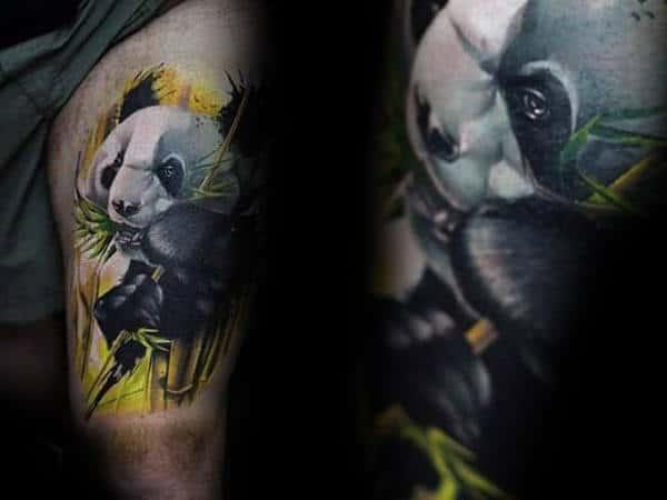 Incredible Thigh Tattoo Of Panda Bear On Man
