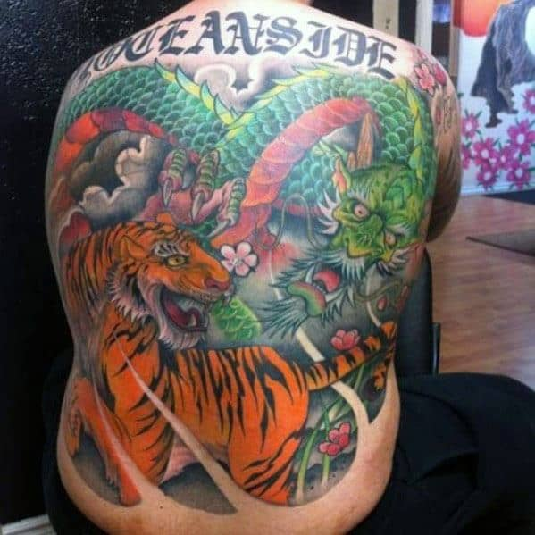 Incredible Tiger With Green Dragon Tattoos For Men