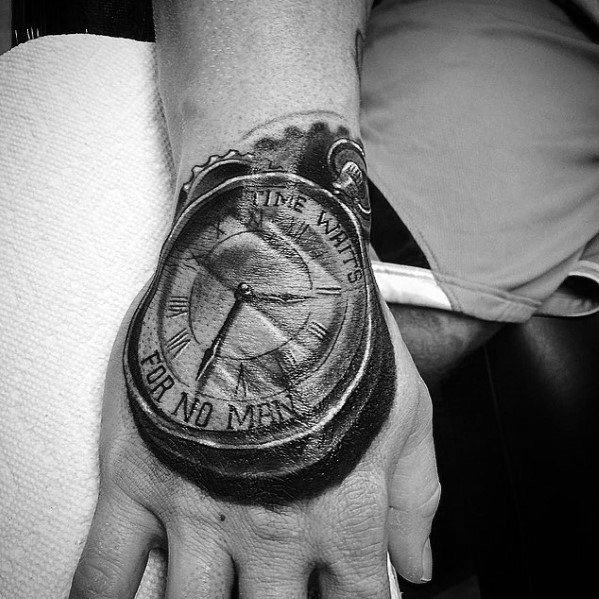 40 Time Waits For No Man Tattoo Designs For Men