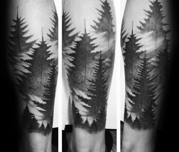 Incredible Tree Line Tattoos For Men On Leg