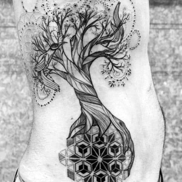 Incredible Tree Of Life Pattern Rib Cage Side Tattoo On Gentleman