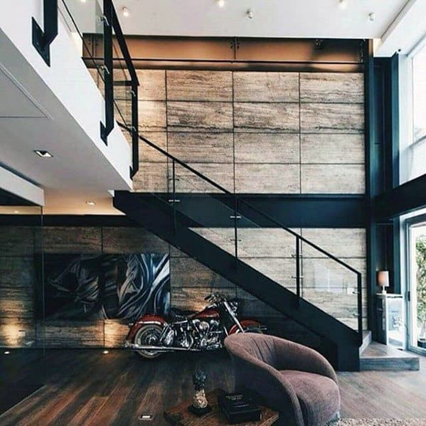 Incredible Ultimate Bachelor Pad Living Room With Stairs