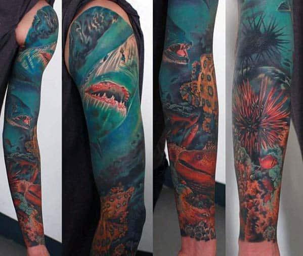 Incredible Underwater Blue Sea Ocean Male Sleeve Tattoos