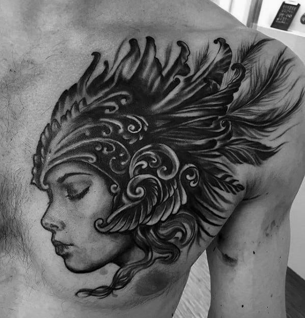 Incredible Valkyrie Tattoos For Men On Chest