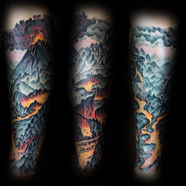 Incredible Volcano Tattoos For Men On Leg