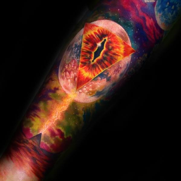 Incredible Watercolor Forearm Sleeve Consciousness Tattoos For Men