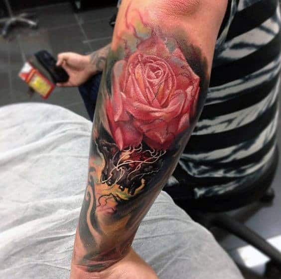 Incredible Watercolor Pink Rose Mens Forearm Sleeve Tattoo