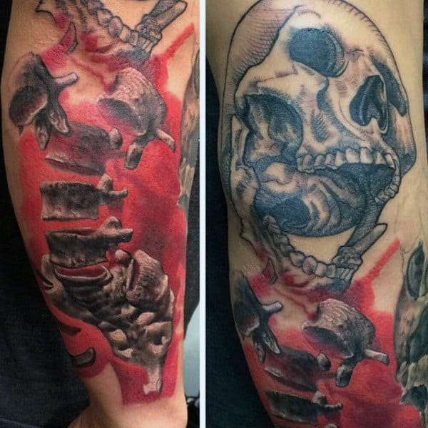 Incredible Watercolor Spinal Cord Red Ink With Skull Tattoos For Guys