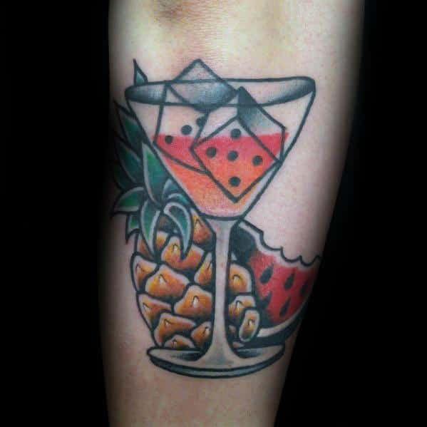 Incredible Watermelon Martini Glass Outer Forearm Tattoos For Men